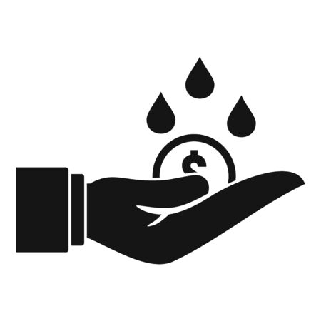 Rich hand money wash icon, simple style Illustration