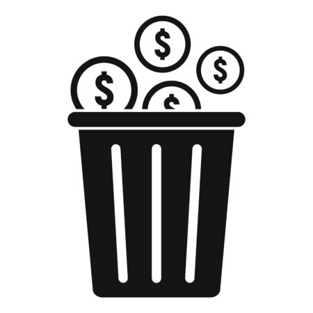 Coins in recycle bag icon, simple style