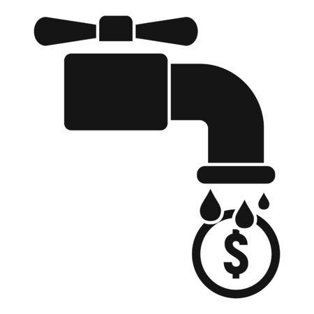 Money water tap icon, simple style