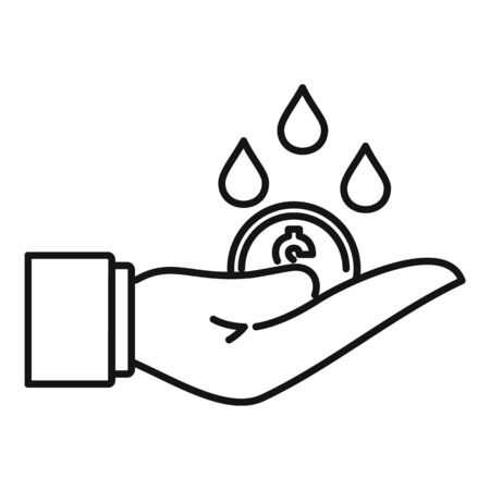 Rich hand money wash icon, outline style