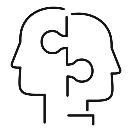 Puzzle collaboration icon, outline style