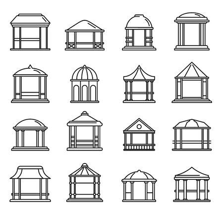 Summer gazebo icons set, outline style 일러스트