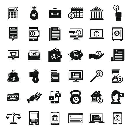 City online loan icons set, simple style Ilustracja