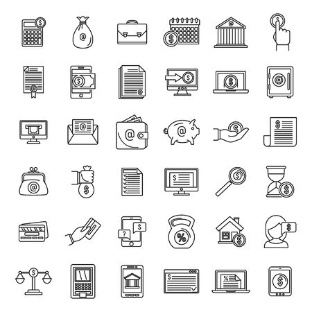Modern online loan icons set, outline style