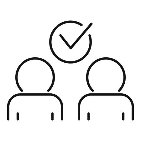 Approved collaboration icon, outline style Vektorgrafik
