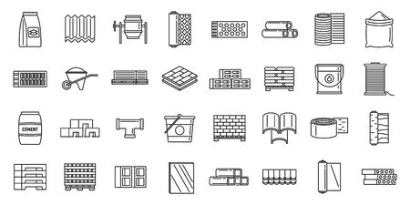 Modern construction materials icons set, outline style