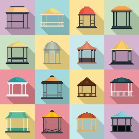 Gazebo icons set, flat style Illustration