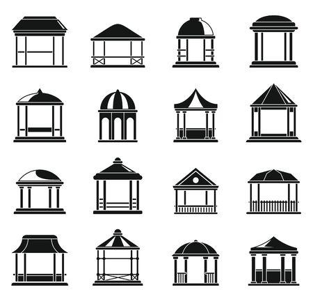 Wood gazebo icons set, simple style Illustration