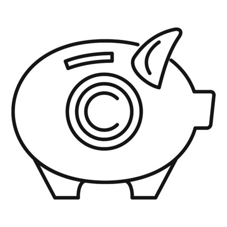 Company piggy bank icon, outline style Ilustracja