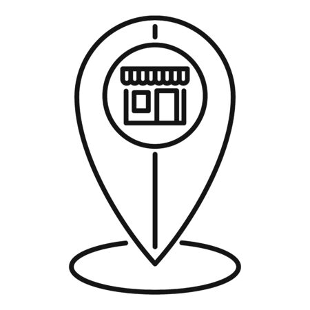 Street shop location icon, outline style Illustration