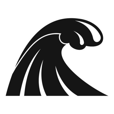 Tsunami wave flood icon, simple style