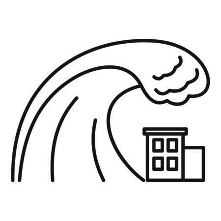 Danger tsunami icon. Outline danger tsunami vector icon for web design isolated on white background