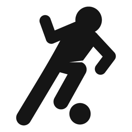 Soccer player dribbling icon, simple style