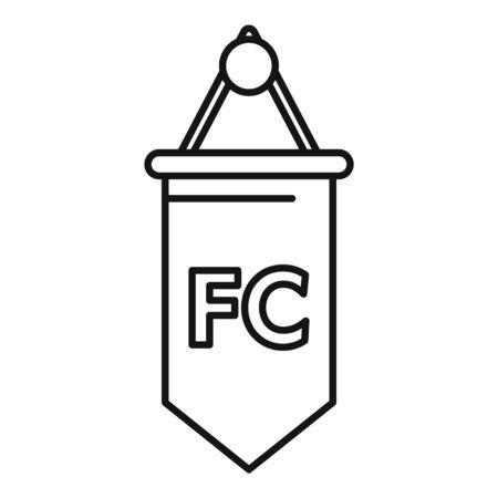 Soccer team emblem flag icon. Outline soccer team emblem flag vector icon for web design isolated on white background