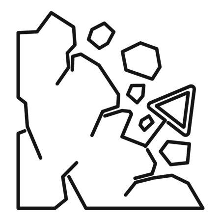 Falling landslide icon. Outline falling landslide vector icon for web design isolated on white background