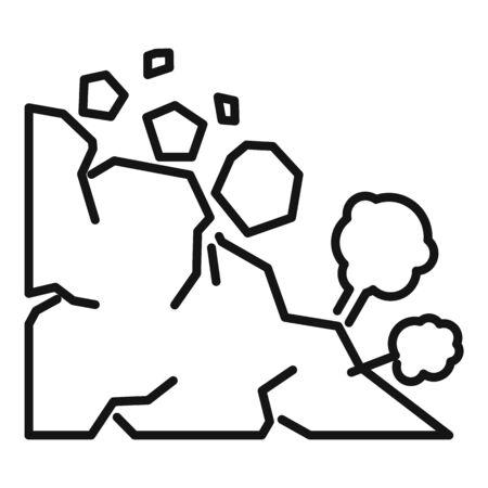 Stone landslide icon. Outline stone landslide vector icon for web design isolated on white background