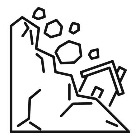 Natural landslide icon. Outline natural landslide vector icon for web design isolated on white background