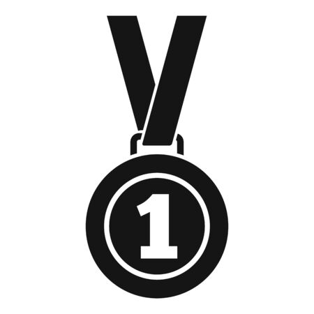 Soccer first place medal icon. Simple illustration of soccer first place medal vector icon for web design isolated on white background