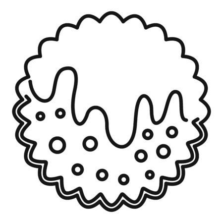 Cream cookie icon, outline style