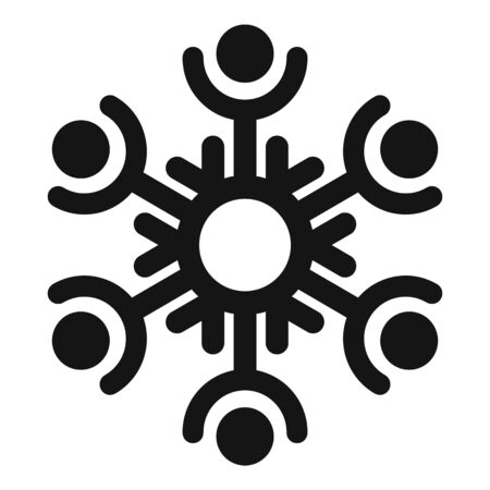 Decorative snowflake icon, simple style