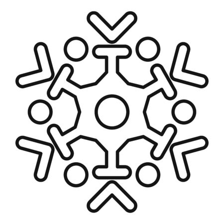 Frozen snowflake icon, outline style Stock Illustratie