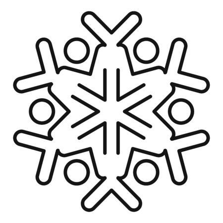 Silhouette snowflake icon, outline style Stock Illustratie