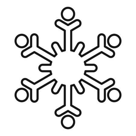 Winter snowflake icon, outline style