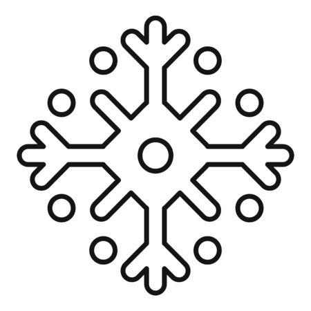 Traditional snowflake icon, outline style