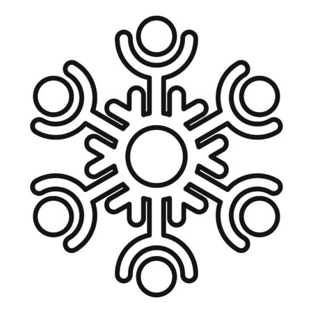 Decorative snowflake icon, outline style