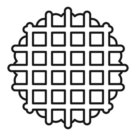 Waffle cookie icon, outline style Vettoriali