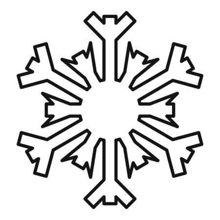 December snowflake icon, outline style