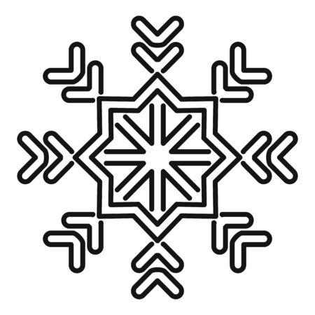 Star snowflake icon, outline style