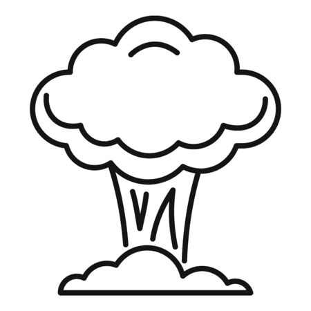 Nuclear mushroom icon. Outline nuclear mushroom vector icon for web design isolated on white background