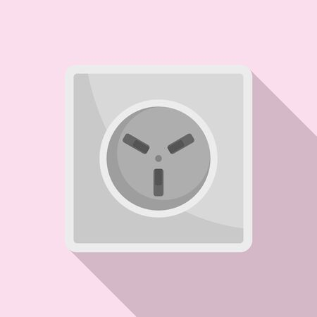 Type H power socket icon, flat style