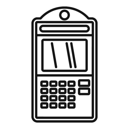 Atm online pay icon, outline style 向量圖像