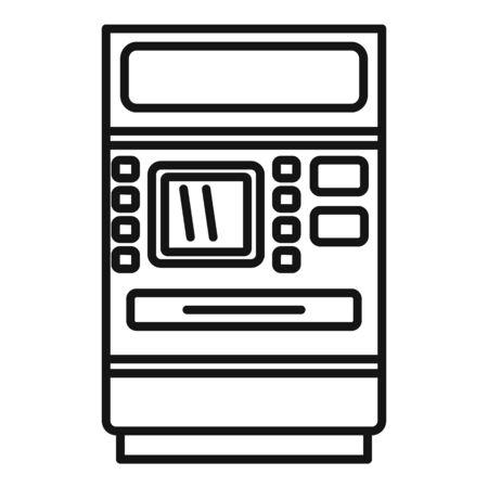 Cash atm receipt icon, outline style 向量圖像