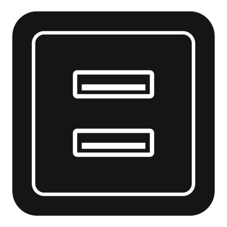 Usb power socket icon. Simple illustration of usb power socket vector icon for web design isolated on white background 向量圖像