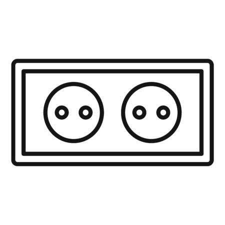 Double power socket icon, outline style