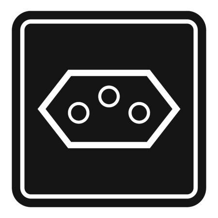 Type j power socket icon, simple style 向量圖像