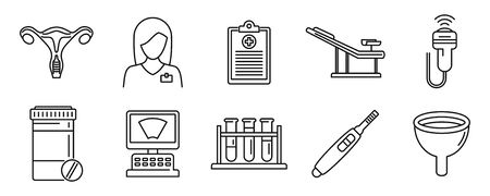 Hospital gynecologist icons set, outline style Vectores