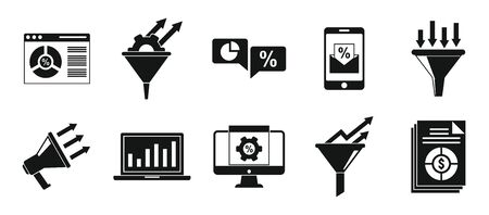Conversion rate funnel icons set, simple style