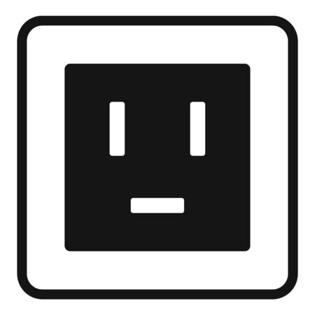Electric power socket icon, simple style