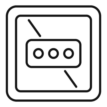 Type l power socket icon, outline style 向量圖像
