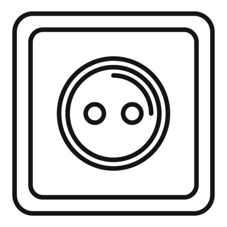 Classic power socket icon, outline style Stock Illustratie