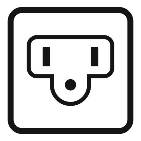 Type b power socket icon, simple style 向量圖像