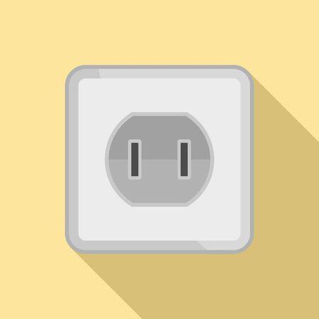 Element power socket icon, flat style