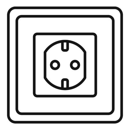 Type f power socket icon, outline style