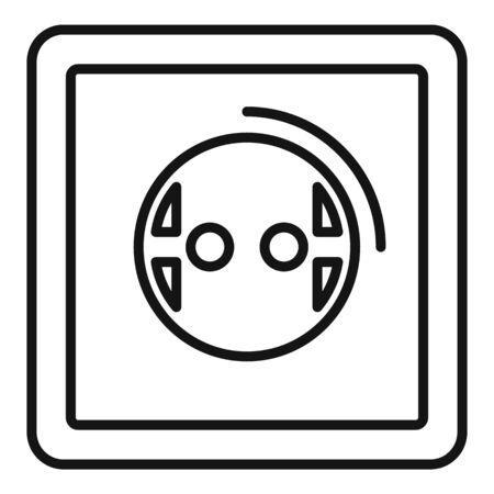 European power socket icon, outline style 向量圖像