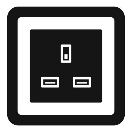 Type g power socket icon, simple style