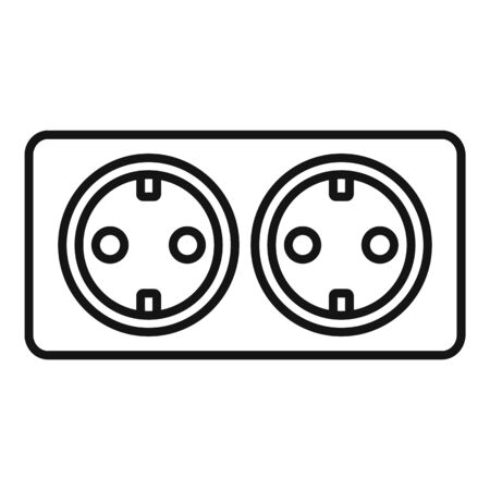 Double wall power socket icon, outline style